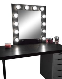 Hollywood Vanity Mirror with Lights, Makeup Vanity Mirror with Lights, Vanity Mirror with Lights Ikea, Lighted Makeup Mirror, Black Vanity Desk, Black Makeup Vanity, Makeup Vanity Mirror, Vanity Room, Vanity Set, Black Makeup Table, Makeup Dresser, Ikea Vanity, Vanity Mirrors