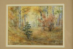 Twining forest woods nature trees  Watercolor artist framed signed matted art