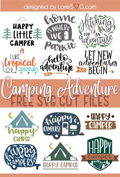 Free Camping Adventure SVG Cut FilesFree SVG Cut File for Cricut and Silhouette in SVG, PNG, EPS, and DXF formats. This file is absolutely free for personal use. This file is compatible with Cricut Design Cricut Svg Files Free, Cricut Fonts, Free Svg Cut Files, Cricut Vinyl, Project Life, Cricut Tutorials, Cricut Creations, Svg Cuts, Cricut Design
