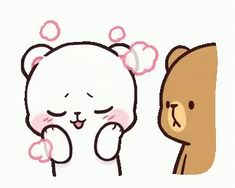 LINE Official Stickers - Milk & Mocha: Unstoppable Lovers Example with GIF Animation Cute Couple Cartoon, Cute Cartoon Pictures, Cute Love Pictures, Cute Love Gif, Cute Cat Gif, Emoji, Gif Lindos, Bear Gif, Hug Gif
