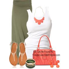 Army Green Maxi, created by cindycook10 on Polyvore -- like the colors -- shorts or capris would also be cute