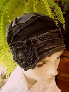 Womens Summer Hat for Chemo or Hairloss Black and grey Soft Comfortable Beanie Flapper Cloche on Etsy, $42.48