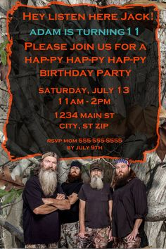 Duck Dynasty Birthday Invitation on Etsy, $10.00