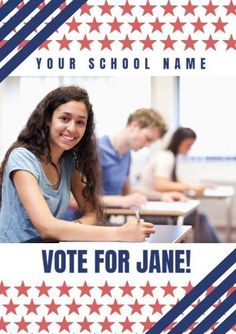 Photo Stars Stripes with main image in the center with school name and candidate name in text boxes