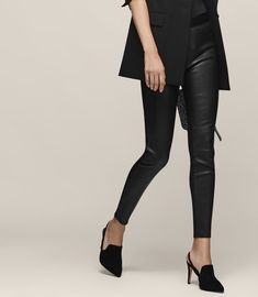 Reiss Knole Leather And Ponte Trousers Leather Trousers, Trousers Women, Reiss, Trendy Outfits, High Fashion, Women Wear, Clothes For Women, Stylish, Shopping