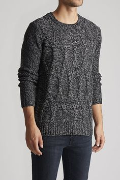 Cable Crewneck - Birch x Black - Sweaters & Cardigans : JackThreads
