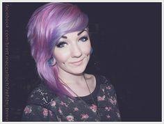 Purple Hair, Stunning Make Up and Cheek Piercings. #Alternative #Hair #LongHair #Updo #Hairstyle #PurpleHair #ShortHair #Sexy #BodyMods