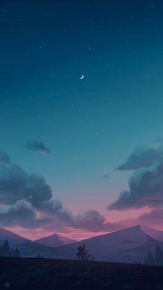 Calm night - My best wallpaper list Night Sky Wallpaper, Anime Scenery Wallpaper, Landscape Wallpaper, Aesthetic Pastel Wallpaper, Cute Wallpaper Backgrounds, Pretty Wallpapers, Galaxy Wallpaper, Landscape Art, Aesthetic Wallpapers