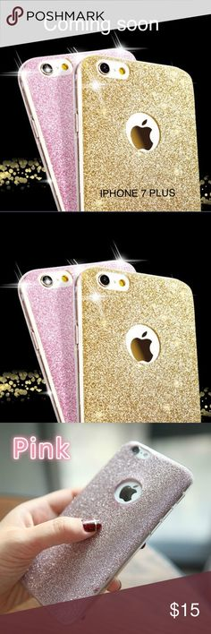 Glitter IPHONE 7 PLUS case. Soft silicone glitter accessory phone case for the iPhone 7 plus. They are heavy silicon. Flexible and very petty. The black looks light. More like dark silver. Accessories Phone Cases