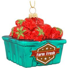Farm Fresh Strawberry Basket Glass Ornament