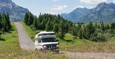 Small RV on a road in Waterton Lakes National Park