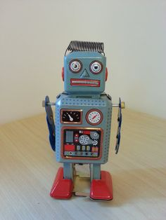Hey, I found this really awesome Etsy listing at https://www.etsy.com/listing/104269395/blue-tin-toy-robot-metal-vintage-toy