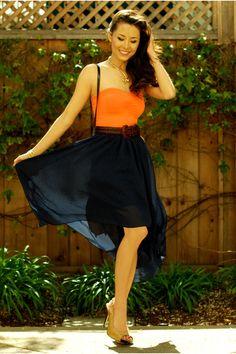 Tangerine tank top, deep blue skirt, nude pumps - hot!!!