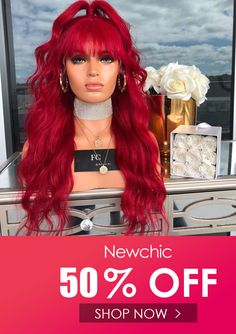 I found this amazing Red Middle Score Long Curly Hair Big Wave Roll Front Lace Chemical Fiber Hair Wig with AU$69.99,and 14 days return or refund guarantee protect to us. --Newchic