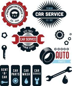 Car service repair shop set vector