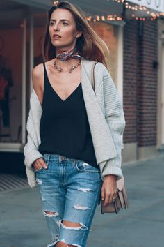 Chunky Knit Sweater Ripped Boyfriend Jeans Neck Scarf Choker Necklace Prosecco and Plaid