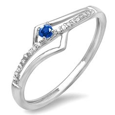 18K White Gold Blue Sapphire and White Diamond Wave Promise Engagement Ring ** Additional details at the pin image, click it  : Promise Rings Jewelry
