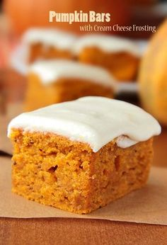 Pumpkin Bars with Cream Cheese Frosting. Fall dessert at it's best.
