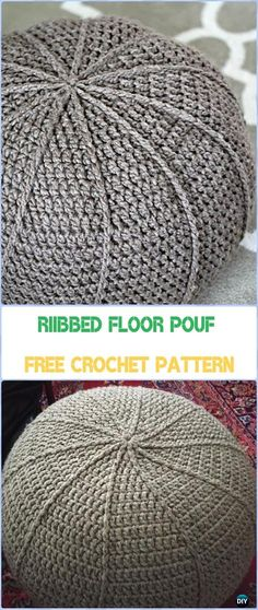 Crochet Floor Pouf  Free Pattern - Crochet Poufs & Ottoman Free Patterns
