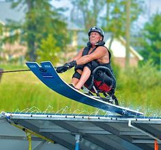 Adapted water skier hitting a jump.  >>> See it. Believe it. Do it. Watch thousands of spinal cord injury videos at SPINALpedia.com