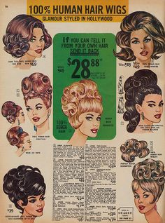 """Spring 1966 Frederick's of Hollywood wig catalogue (I want my hair to look like figure """"F"""")"""