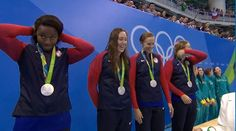 08.06.16 USA settles for silver as Australia won the women's 4x100-meter relay in a world record time of 3:30.65. #Rio2016