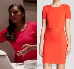 """Mindy wore this red bodycon dress while finding the perfect/not-so-perfect hiding place for her toothbrush in """"Crimes & Misdemeanors & Ex-BFs""""."""