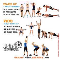 30 jumping jacks, 20 air squats, 10 wide push ups, 10 Back squats, 12 burpees, 20 slam ball