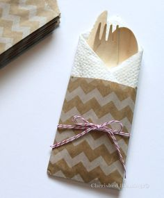 Chevron Bags, 20 Rustic Kraft Wooden Mini Size Silverware Flatware Bag Paper…