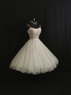 Vintage 1950's 50s White Pink Embroidered Applique Rhinestones Chiffon Organza Party Prom Wedding Dress Gown