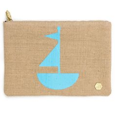 Modern Fashion Accessories | Sailboat Jute Pouch | Jonathan Adler