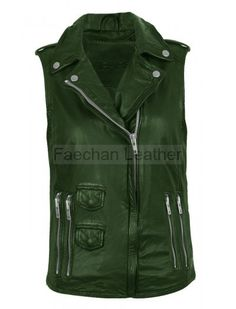 Gratifying Drapper Green Leather Vest