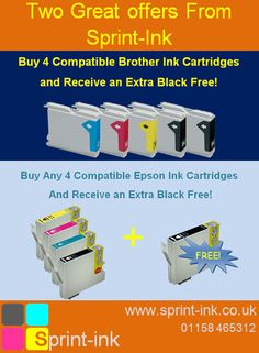 Save on Brother and Epson Ink Cartridges with our FREE cartridge offer     Free Black Brother Inkjet Cartridge with every 4 Compatible Inks  http://www.sprint-ink.co.uk/brother-printer-ink-cartridges/info_69.html     Free Black Epson Inkjet Cartridge with every 4 Compatible Inks  http://www.sprint-ink.co.uk/epson-printer-ink/info_93.html