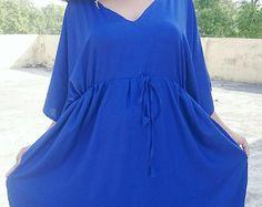 Blue kimono, Caftan dress, Cotton kaftan, Summer Dress, Maternity Dress, Maxi Dress, Plus size Dress, Wedding Dress, Cotton caftan, kaftans