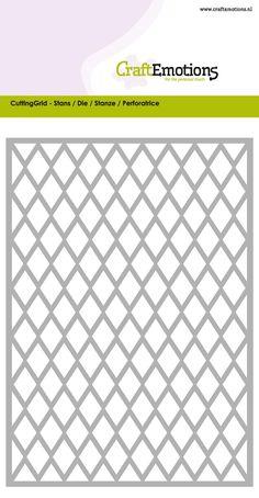 115633/0601 CraftEmotions Die - Cutting Grid - ruit / diamond / Rhombus / Card 10,5x14,8cm / 8718736029548
