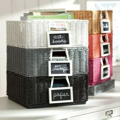 organize your desk with stackable bins