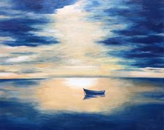 $280 Solitude. Original art, oil painting on canvas by Elena Whitman. Contrasting clouds and calm sea surface, highlighted with sunset boat. I just love this beautiful colour mix and reflections on the water.