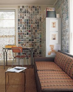 Love this decor idea! Instead of a wallpaper, a wall full of Polaroid pictures, neatly arranged.