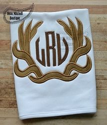 Antler Monogram Applique | What's New | Machine Embroidery Designs | SWAKembroidery.com