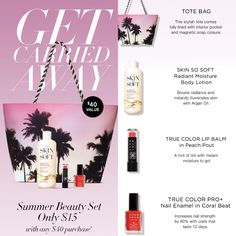 This offer is available to you for $15 when you spend $40 plus free shipping and 10% off your order! Use code WELCOME10 at checkout! www.YourAvon.com/surelys #Summerbundle #summerbag #totebag #skinsosoft #lipbalm #nailpolish #discount #freeshipping #avonproducts
