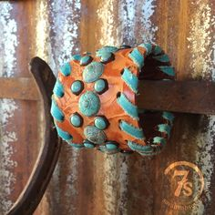 Mason Cuff - leather and turquoise stud cuff from Savannah Sevens Western Chic