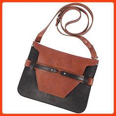 Women's Handbag Purse Crossbody Bag Black Leather Brown Trim No. 21B Ashley (*Partner Link)