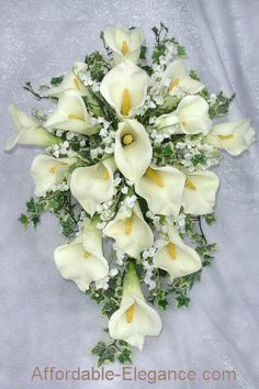 lily arrangements for weddings | ... bouquet with beautiful foam calla lilies lily of the valley cascading
