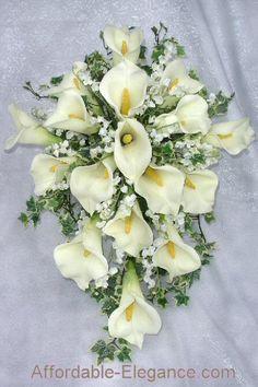 calla lilly wedding boquet | Ivory Calla Lily Lilies Bridal Bouquets Wedding Set New | eBay
