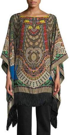 Etro Boat-Neck Dream-Catcher Print Silk Tunic w/ Fringe Silk Tunic, Bateau Neckline, Silk Top, Boat Neck, Dream Catcher, Kimono Top, Luxury Fashion, Tunic Tops, Couture