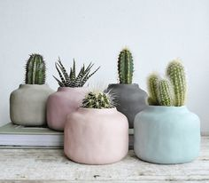 Pastel home accessories: flower pots for indoor plants - Minimalist Interior Design