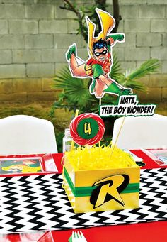 Robin, The Boy Wonder! Themed 4th Birthday Party. I'm not up for a debate. Boy Wonder is going on Super Hero's board.  With or without super powers!