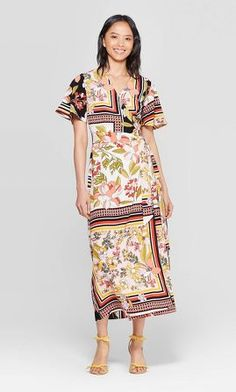 petiteWomen's Floral Print Short Sleeve V-Neck Wrap Midi Dress with Belt - Who What Wear Summer Pink XS, Women's Affordable Dresses, Affordable Fashion, Wrap Dress, Dress Up, Simple Summer Dresses, Target Dresses, Neck Wrap, Who What Wear, Floral Prints
