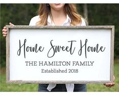 Home Sweet Home Farmhouse Wood Sign Family Name Signs Custom Name Sign Personalized Name Sign Established Signs Wedding Gift for Couple