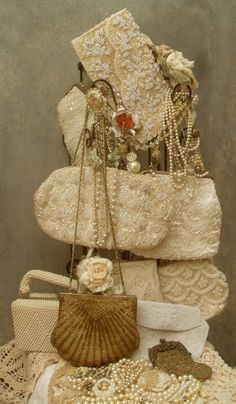 vintage collection of beaded purses , A lady always carry's a purse to tea!